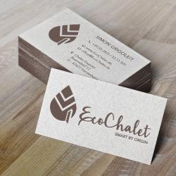 eCouleur Referenz nachhaltiges Design EcoChalet Printdesign Visitenkarten