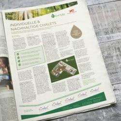 eCouleur Referenz nachhaltiges Design EcoChalet Printdesign Zeitungsanzeige