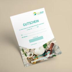 eCouleur Referenz nachhaltiges Design Grüne Bude Printdesign Gutschein
