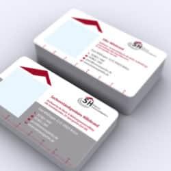 eCouleur Referenz nachhaltiges Design Immoexpertin Printdesign Visitenkarten mit Lupe