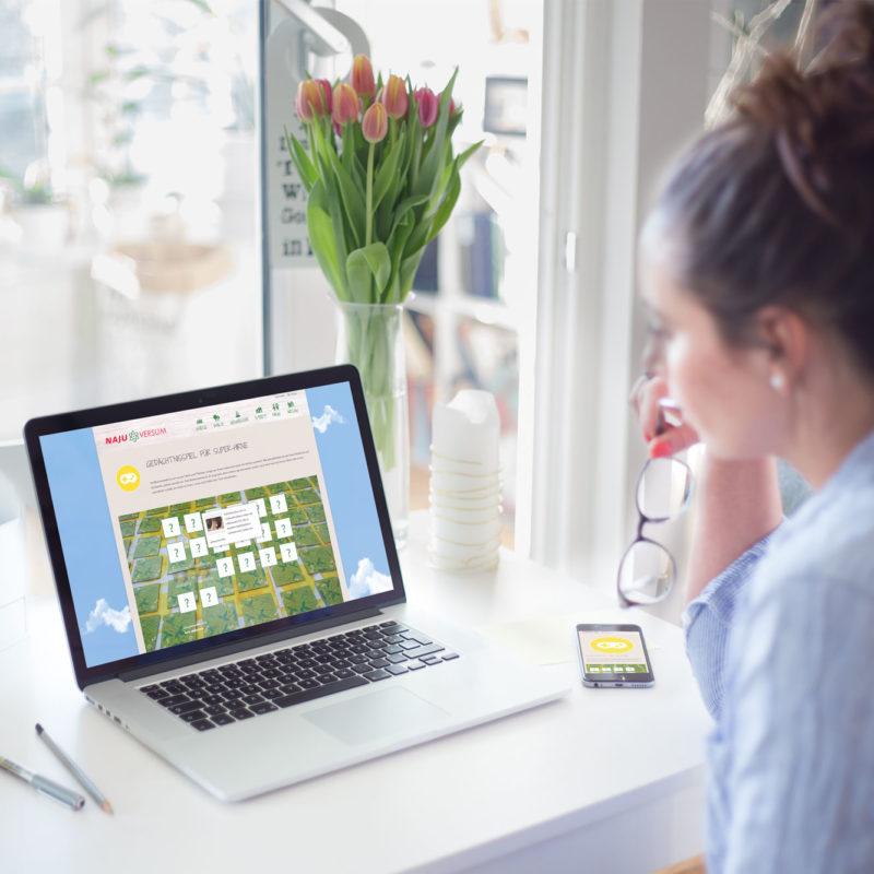 eCouleur Referenz nachhaltiges Design Najuversum responsive Webdesign Wordpress Gedächtnisspiel