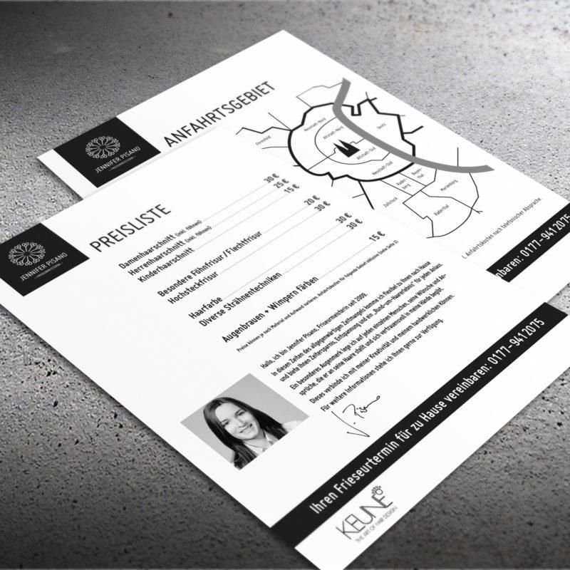 eCouleur Referenz nachhaltiges Design Pisano Frieseurin Printdesign Preisliste