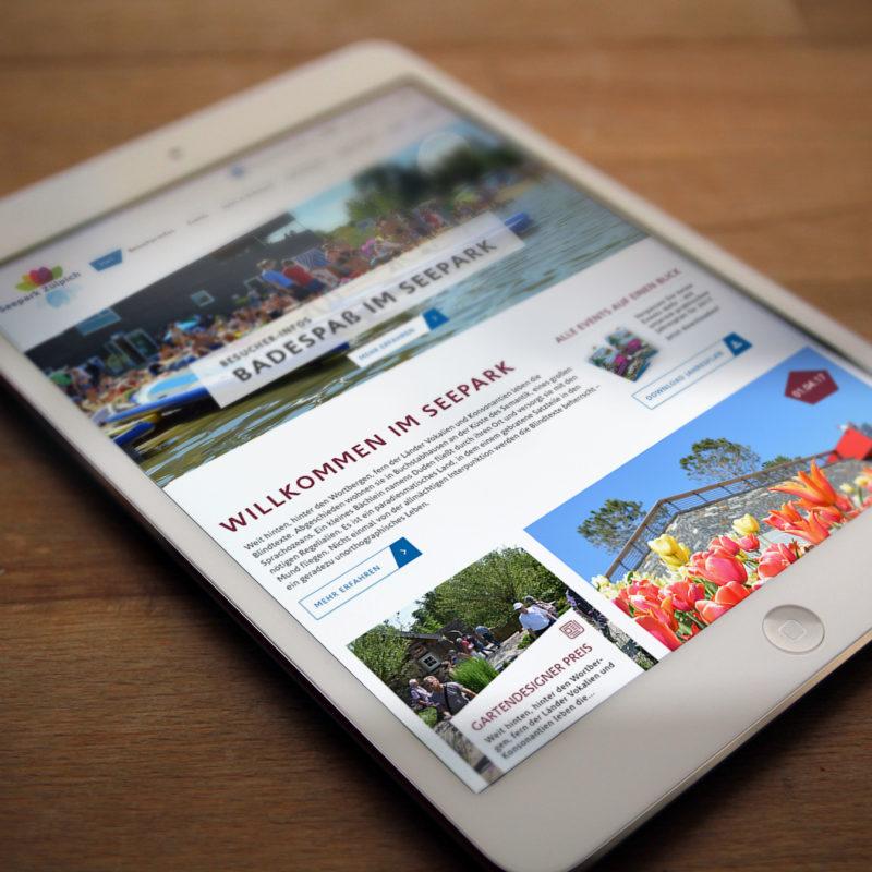 eCouleur Referenz nachhaltiges Design Seepark-Zuelpich responsive Webdesign Tablet